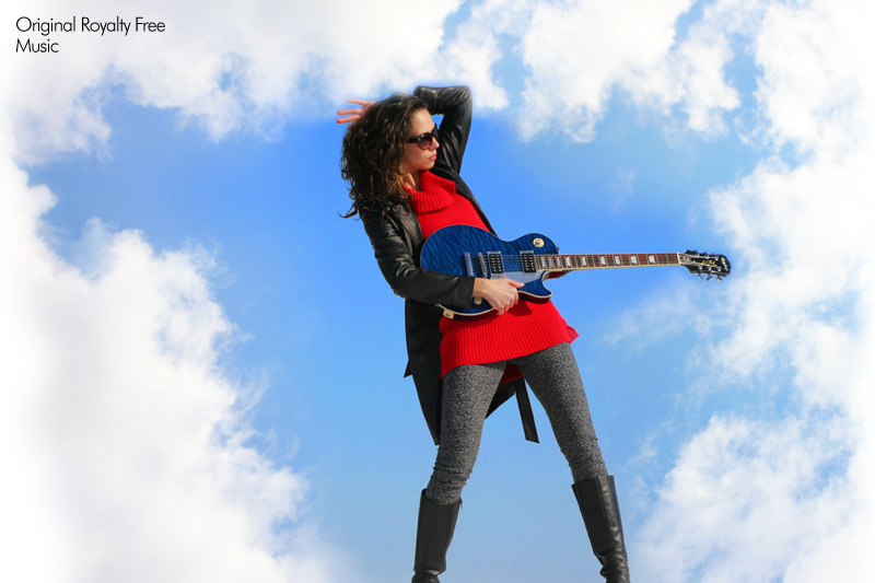 Model With Blue Guitar and Sky